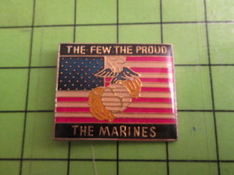 718c Pin's Pins / Beau Et Rare : Thème MILITARIA : BLASON U.S. MARINES THE FEW THE PROUD But Not In Normandy - Army