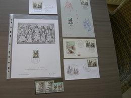 """BELG.1971 1593-1594** Zegels X 2 + FDC +Herinneringskaarten """"Ath & Gent"""" - FDC"""
