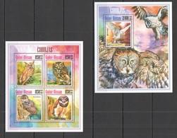 D137 2013 GUINE-BIISAU FAUNA BIRDS OWLS CORUJAS KB+BL MNH - Owls