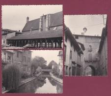 180918 - 3 PHOTOS 1963 - 01 CHATILLON SUR CHALARONNE église Des Halles Porte De Villars Ruisseau Pont - Châtillon-sur-Chalaronne