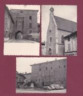 180918 - 3 PHOTOS 1963 - 01 CHATILLON SUR CHALARONNE Couvent Des Ursulines Porte De Villars église - Auto Tub - Châtillon-sur-Chalaronne