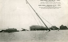 FRANCE - Wreck Of The  Steamship HILDA At Saint-Marlo 1905 - The Mast Where The Survisors Were Rescued - Catastrofi