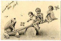WICHERA  ENFANTS SUR BALANCOIRE  COCHON  -  M M VIENNE - Wichera