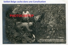 CHASSEUR Belge Cache Dans La Canalisation-CARTE PHOTO Allemande-Guerre 14-18-1WK-BELGIEN-Westflandern- - War 1914-18