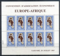 Central African Republic 1963 Europafrica Sheetlet (creased, BLC) MUH - Central African Republic