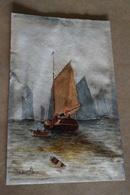 Superbe Ancien Dessin Aquarelle ,Marine ,signé Frank ? 1923 ,dimensions 21,5 Cm. Sur 13,5 Cm. - Watercolours