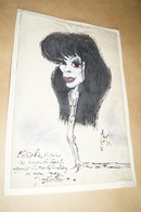 Superbe Ancien Dessin Aquarelle Originale,signé Fur,Juliette Greco ? 43 Cm. Sur 29 Cm.Reine Fabiola - Watercolours