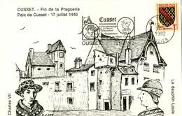 Fin De La Praguerie , Paix De Cusset 1440 . Cachet 1982 De Cusset S/ 1f Armoiries Bourbonnais .  PARFAIT ETAT . - Documents Of Postal Services