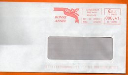 67 LINGOLSHEIM  BONNE ANNEE  2003  Lettre Entière 110x220 N° EMA MM 680 - Marcophilie (Lettres)