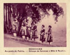 """Chromo, Image, Vignette : Indochine, Au Poste De Pakha, Groupe De Femmes """"Méo à Fleurs"""" (6 Cm Sur 7 Cm) - Unclassified"""