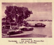 Chromo, Image, Vignette : Indochine, Cambdoge, Les Quais De Phnom-Pen, Au Bord Du Tonlé-Sap (6 Cm Sur 7 Cm) - Unclassified
