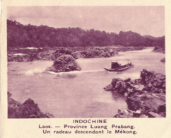 Chromo, Image, Vignette : Indochine, Laos, Province Luang-Prabang, Un Radeau Descendant Le Mékong (6 Cm Sur 7 Cm) - Unclassified