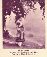 """Chromo, Image, Vignette : Indochine, Tonkin, Province Lao-Kay, Femme """"Meo à Fleurs"""" (6 Cm Sur 7 Cm) - Unclassified"""