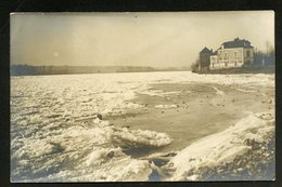 44 CPA - ANCENIS - CARTE-PHOTO  -  LA LOIRE EN GLACE - ANNEES 1920 - LA CHARBONNIERE - CAFÉ - Ancenis
