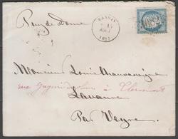 Puy De Dôme:  G.C.3082 Sur N°60C + CàD RANDAN(62) Sur LSC De 1875 - Marcophilie (Lettres)