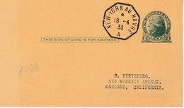 MAV 031 - Cachet Octogonal NEW YORK Au Havre Du 19 Avril 1933/entier Postal Jefferson. Superbe - 1921-40