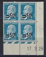"""FR Coins Datés YT 222 """" Pasteur 50c. S. 1F25 Bleu """" Neuf** Du 17.3.26 - Coins Datés"""