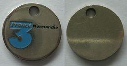 1 JETON De CADDIE : FRANCE 3 NORMANDIE - Trolley Token/Shopping Trolley Chip