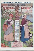 CARTE ILLUSTREE COULEUR -CHEMINS DE FER DE L'OUEST -NORMANDIE-BRETAGNE - Chemins De Fer