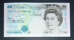 Regno Unito UK Inghilterra England 5 Pound Sterline 1990 AUNC Kentfield Stevenson - 1952-… : Elizabeth II