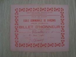 BILLET D'HONNEUR ECOLE VICTOR HUGO VILLE DE CLICHY 1941 - Diplomi E Pagelle