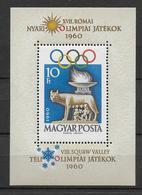 HONGRIE - 1960 - BLOC YVERT N°36 * / MH - CHARNIERE LEGERE - COTE YVERT = 65 EURO - JEUX OLYMPIQUES - Blocs-feuillets
