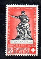 281/1500 - SVIZZERA 1940 , Unificato N. 351a Rosso Chiaro  ***  MNH - Nuovi