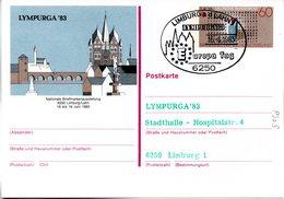 "BRD Amtliche GZS-Sonderpostkarte PSo8 ""LYMPURGA'83 In Limburg/Lahn"" WSt ""Europamarke 1983""60(Pf), ESSt 16.6.1986 LIMBURG - BRD"