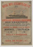 British Navigation Postcard Royal Mail Steam Packet Co. Antilles-Mexique-Pacifique-Brésil-La Plata 1860 - Reproduction - Advertising