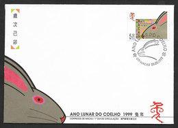 Macao An Lunaire Du Lapin FDC 1999 Macau Lunar Year Of The Rabbit FDC - Astrologie