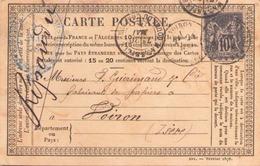 Carte Postale Du 20 Mai 1878 De Marseille Pour Voiron - Autres
