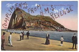 """Rock From Neutral Ground Gibraltar 'Compliments From H.M.S. Revenge"""" In Glitter C1918 - Benzaquen - Gibraltar"""