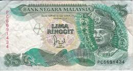 BILLETE DE MALASIA DE 5 RINNGIT DEL AÑO 1989 (BANKNOTE) - Malasia