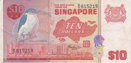BILLETE DE SINGAPORE DE $10 DE UN PAJARO DEL AÑO 1976 (BANKNOTE) BIRD - Singapour