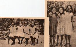 Océanie. 2 CPA.  Iles Gilbert.  Fillettes Et Petites Gilbertines. - Kiribati