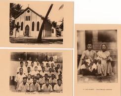 Océanie. 3 CPA.  Iles Gilbert.  église, éléves Catéchistes, Jeune Ménage Catéchiste. - Kiribati