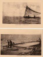 Océanie. 2 CPA.  Iles Gilbert.  Pirogue. - Kiribati