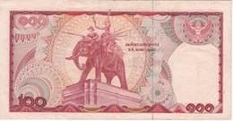 BILLETE DE TAILANDIA DE 100 BATH SERIE OF DEL AÑO 1978 ELEFANTE -ELEPHANT (BANKNOTE) - Thailand
