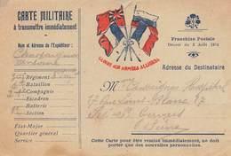 P-T-18-5473 : CARTE FRANCHISE MILITAIRE. CORRESPONDANCE DES ARMEES. DRAPEAUX. - Marcofilia (sobres)