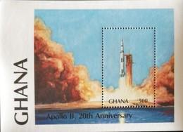Ghana 1989 1st Moon Landing  20th. Anniv. S/S - Ghana (1957-...)