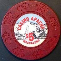 $5 Casino Chip. Casino Apache, Mescalero, NM. M95. - Casino