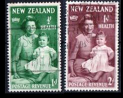 NUOVA ZELANDA, NEW ZEALAND, SANITA, HEALTH, REGINA ELIZABETH, PRINCIPE CHARLES, 1950,  USATI YT 305,306   Scott B36,B37 - Nuova Zelanda