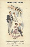 Menu : Mariage, Juillet 1959, Georges Maciejeski, Eliane Armand, Dessins, Mariés, Enfants, 2 Scans - Menus