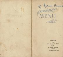 Menu : Mariage, Septembre 1948, Marguerite Pion, Roger Michel, 2 Scans - Menus