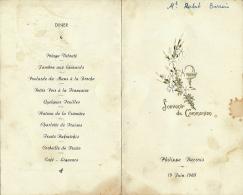 Menu : Communion, Juin 1960, Philippe Barrois, Menu Midii Et Soir, 2 Scans - Menus