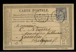 NORD - LAC - Tàd T18 DENAIN (1877) Sur N° 77 Pour Gosselies (Belgique) - Postmark Collection (Covers)