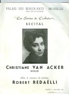 Récital Christiane Van Acker Mezzo Palais Des Beaux-Arts Bruxelles 1956 Les Soirées De L'Atelier - Programs