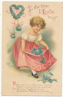 SERIES # 1909, To The One I Love Best, Pretty Girl, Dress, Flowers, A/S Ellen H. Clapsaddle, International Art Publ. Co. - Valentinstag