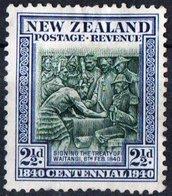 NUOVA ZELANDA, NEW ZEALAND, COMMEMORATIVO, TRATTATO DI WAITANGI, 1940, FRANCOBOLLO NUOVO SENZA GOMMA YT 247   Scott 233 - 1907-1947 Dominion