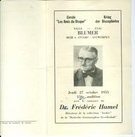 Fred Hamel Auditie 1955 Kring Der Discophielen / Cercle Les Amis Du Disque Antwerpen Anvers Archiv Deutsche Grammophon - Programmi